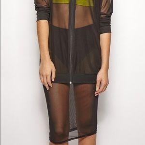 Sheer mesh Set Black skirt jacket outfit